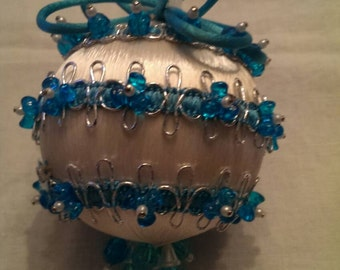 Vintage Pretty White and Turquoise Beaded Ornament Satin Ball and Beads silver ribbon trim.