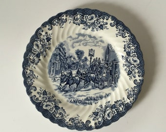 "Vintage Johnson Brothers 10"" dinner plate - coaching scenes - regency blue"