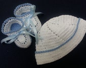 READY to SHIP Newborn Baby Hat, Christening Hat Baby Boy Hat Booties, Crochet Hat and Booties Baby Boy White and Blue Newborn or Reborn Doll