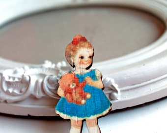 Retro Girl wooden brooch kawaii sweet lolita egl blue dress tebbdy bear