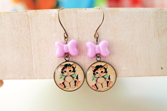 Kawaii retro cat kitten earrings with bow lolita sweet fairy kei