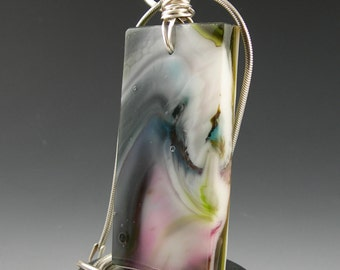 Abstract Multicolor Swirl Art Glass Fused Pendant with Sterling Silver Wire Wrapped Bail
