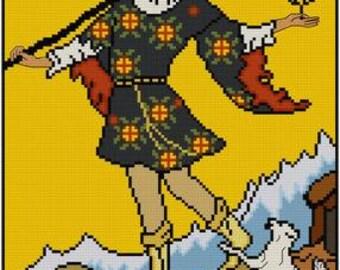 The Fool Tarot Card cross stitch pattern PDF Rider-Waite