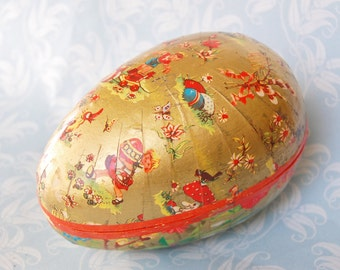 West German Easter Egg Papier Mache Vintage Germany Candy Container
