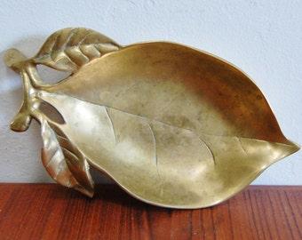 Vintage Brass Leaf Dish 1960s Figural Display Bowl Centerpiece