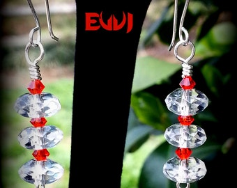 Rock Quartz Crystal with Orange Swarovski crystals Wire Wrapped with Sterling Silver Dangle Earrings