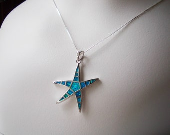 Silver Necklace Starfish created blue opal charm necklace 925 sterling Ocean Sea Life nature Jewelry for women fish sealife pendant choker
