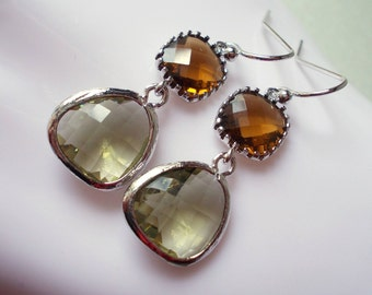 Long silver earrings, smokey quartz, khaki green, glass dangles, drop earrings, modern handmade silver jewelry, military colors, olive brown