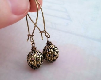 Filigree bead earrings, filigree earrings,  antique brass bead earrings, drop earrings, filigree jewelry, gift for her