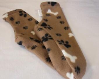 Women's Polar Fleece Socks or Slipper Socks Tan Paws and Bones