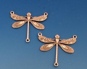 Dragonfly Connector, Antique Silver, 3-Ring, 2 Pc. AS331