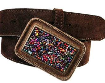Beaded Belt Buckle Colorful World   Western