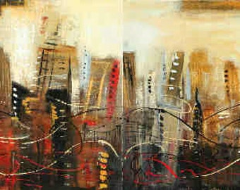Cityscape original painting 72 inches texturd abstract  diptych