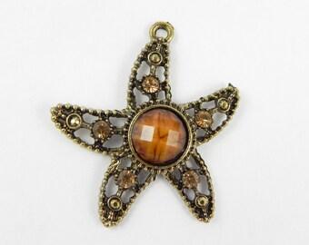 Starfish Pendant Charm - Antiqued Caramel Brown - 41mm x 31mm