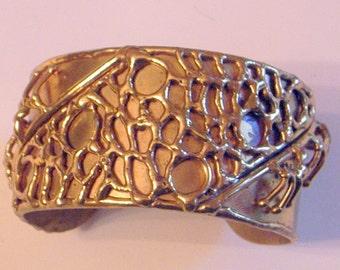 Vintage Brutalist Bracelet, Brutalist Brass Cuff, Signed, Mexico, 7,8 Inch Wrist,Abstract Bracelet.Modernist Bracelet,Brutal,LUCIANO