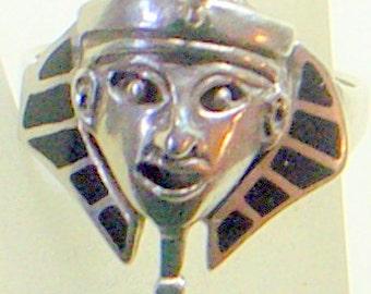 Art Deco Vintage Poison Ring - Sterling King Tut - Egyptian Revival - Black Enamel  Headdress - Size 9 - Solid Sterling Silver - Halloween