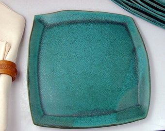 Square Turquoise Dinner Plate - Made to Order