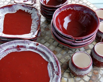 Eclectic Dinnerware Set of 6 Place Settings in Red Agate - Made to Order