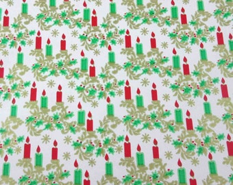 Vintage Red Green and Gold Christmas Wrapping Paper or Gift Wrap with Candles Holly Berries Scrolls