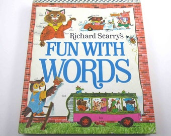 Richard Scarry's Fun With Words Vintage 1960s Over Sized Children's Book Entitled by Richard Scarry