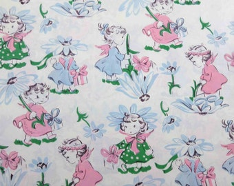Vintage Birthday or Shower Wrapping Paper or Gift Wrap with Cute Angel Present and Daisy Flower