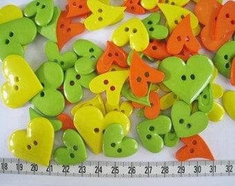 30 pcs of bright heart button -  Yellow Orange Green