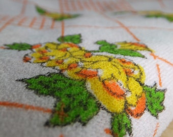 Vintage Crepe Stretch Knit with Orange White Yellow Floral and Diamond Pattern Retro Asian Print Fabric