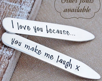 Personalised Silver Shirt Collar Stiffeners - Father's Day Collar Stays - Personalised Father's Day Gift - Sterling Silver Dad Stiffeners
