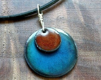 Copper enamel jewelry Chestnut Brown and Water Blue Necklace Prairie style handmade