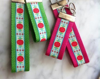 Large or Small Webbing Wristlet Key Fob - Danish Flower design