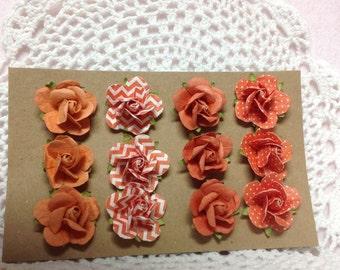 Set of 12 Orange Paper Handmade Flowers