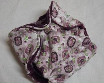 Newborn Fitted Cloth Diaper Purple Hearts