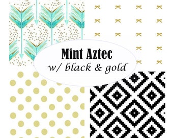 Custom Crib Bedding-3 piece-Mint Aztec with black & gold