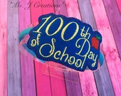 100th Day of School Felt Slider Headband - Girls Blue Yellow - READY TO SHIP