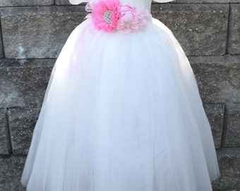 Flower girl White Tutu with sash, White Long Tulle Skirt, White full length Tutu, Girls  Tutu, wedding
