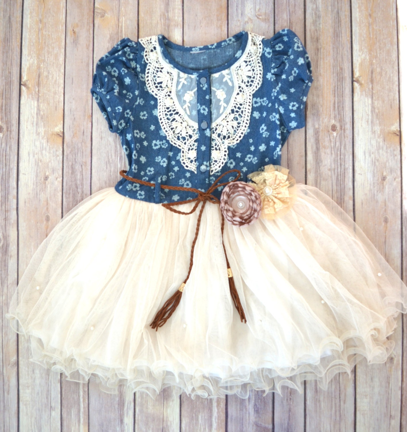 Girls Navy Ivory Tutu Dress Denim Tutu Dress Flower Girl