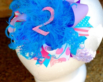 boutique BIRTHDAY PARTY BOW over the top hair bow on a headband