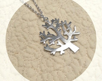 Matte Silver Tree Pendant with Necklace