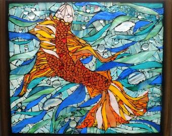 Large Stained Glass Mosaic Fish Orange Blue Underwater Window