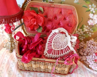 shabby red silk lined sewing basket box, with vintage crochet heart hanging pin cushion, red velvet fabric millinery rose, tattered elegance