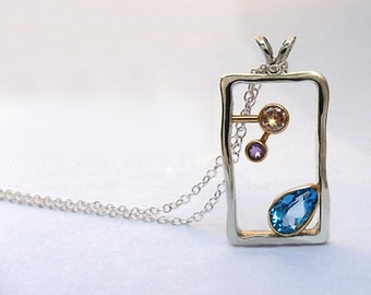 Blue Topaz, Champagne Diamond and Amethyst 14k and Sterling Necklace, Unique Diamond Necklace, Ready To Ship
