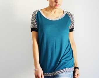 Handmade T shirt for women, top for women in soft jersey fabric