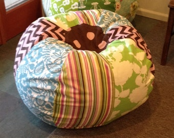 Fun Cottage Bean Bag Chair With Green And Blue Florals Chevron Stripes Polka Dots UNFILLED