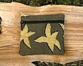 SALE:  Tapestry Coin Purse - Starfish Petite Pouch - Treasure Bag - Change Purse - Handmade in Oregon