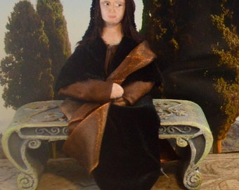 The Mona Lisa Doll Miniature in 3D Historical Art Famous Painting