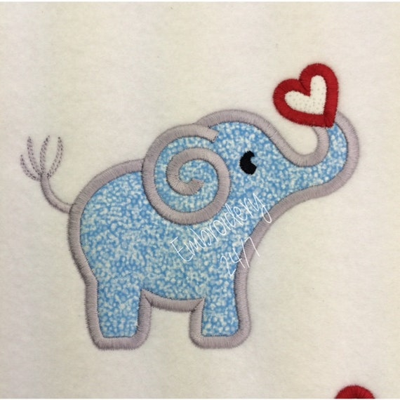 Elephant with heart applique machine embroidery by