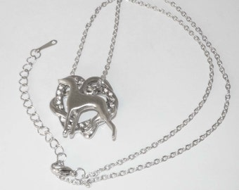 Silvertone and Crystal Hearts, Silver Plated Greyhound Dog Silhouette, Silvertone Necklace