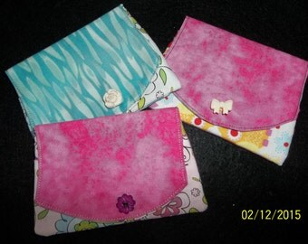 Mini Wallet/Credit Card Holder, Owl or Floral Print, Embellished with Decorative Buttons