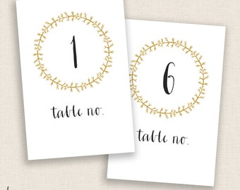 DIY Printable Table Numbers  - 4x6 Digital Design - Numbers 1-20 - Gold Wreath and Calligraphy - Instant Download