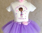 Doc McStuffins Pink Purple first 1st 2nd 3rd 4th 5th 6th 7th Birthday Personalized Custom Name Age Shirt & Tutu Set Girl Outfit
